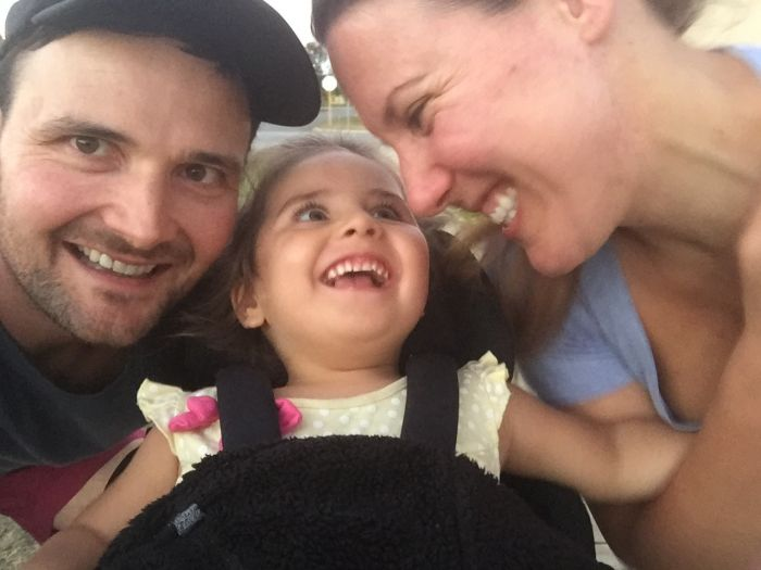 Scarlett with parents Marcus and Kate Whitmore